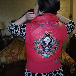 Ed Hardy puffy vest red embroidered on skull roses